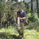 Pesquisador Maurício Greipel prepara armadilha para coletar pequenos mamíferos
