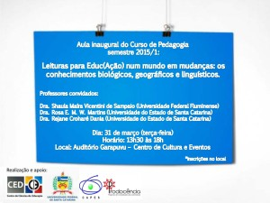 Convite Aula Inaugural Pedagogia - Semestre 2015.1 (1)
