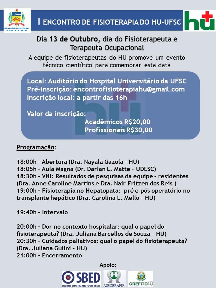 I Encontro de Fisioterapia HU UFSC