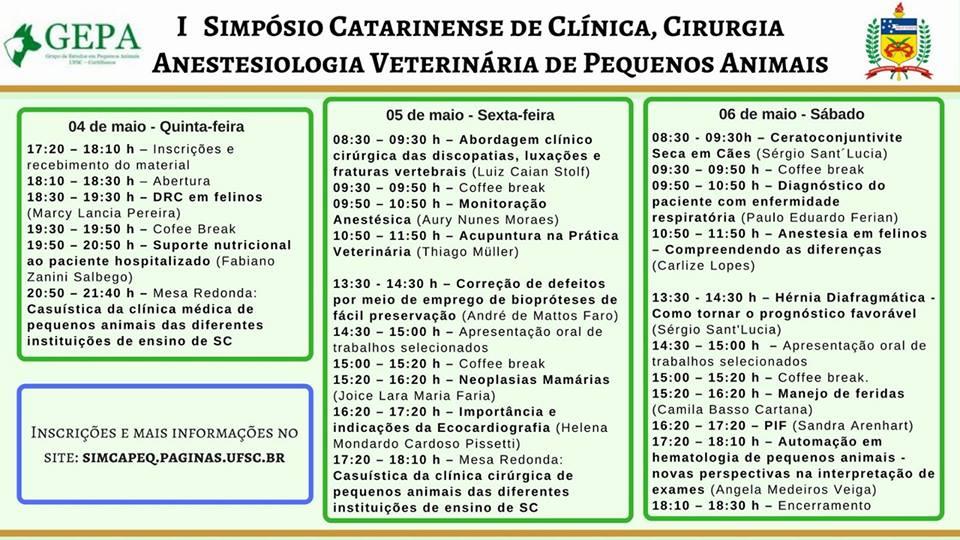 1º Simpósio Catarinense de Clínica, Cirurgia e Anestesiologia de Pequenos Animais