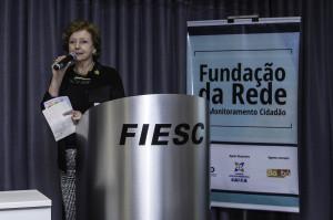 Vice-Reitora Alacoque Lorenzini Erdman na Solenidade de abertura da fundação da Rede de Monitoramento Cidadão de Florianópolis. Foto: Gil Guzzo
