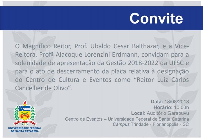 Posse da Gestão 2018-2022 @ UFSC | Santa Catarina | Brasil